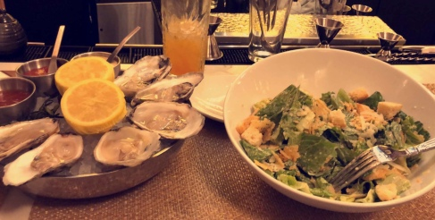 Oyster and Ceasar Salad